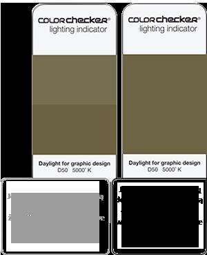 Pantone Color Checker lighting indicator na końcu wzornika Pantone
